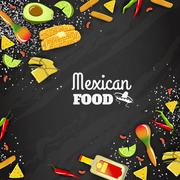 Mexican Food Seamless Background Stock Illustration