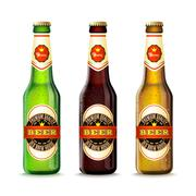 Beer Bottles Set - stock illustration