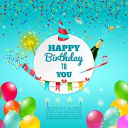 Happy birthday celebration background poster - stock illustration