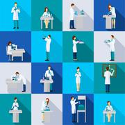Stock Illustration of Scientist Person Flat Set