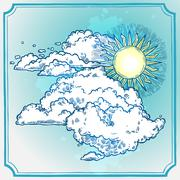 Sunny Sky Frame - stock illustration