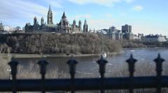 Parliament Hill and the Ottawa River, shot from Majors Hill Park. Stock Footage