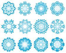 Twelve Circle Snowflakes Stock Illustration