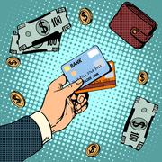 Bank card business discounts money finance sale Stock Illustration
