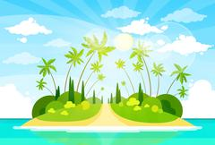 Stock Illustration of Summer Vacation Holiday Tropical Ocean Island With Palm Tree
