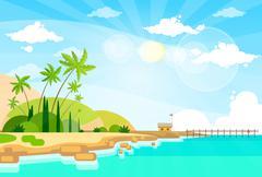 Tropical Beach Island Palm Tree Ocean Summer Vacation Flat Stock Illustration