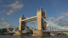 Amazing Tower Bridge down platform street London emblem lift suspension ship day Stock Footage