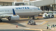 United Airlines Boeing 737 Jet Airplane at Houston Bush Terminal Stock Footage