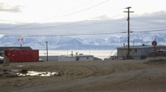 Landscape of the township of Pond Inlet, Nunavut. Stock Footage