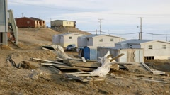 Houses along the edge of Pond Inlet, Nunavut. Stock Footage