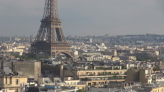 Aerial view Eiffel Tower silhouette day Paris cityscape architecture building Stock Footage