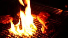 Barbeque with fire Stock Footage