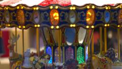 Miniature Carousel Toy In Paris Stock Footage