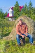 Farmer with an axe Stock Photos