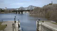 Stock Video Footage of Rideau Canal opens onto Ottawa River in March
