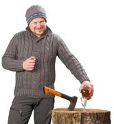Forester with axe and bottle of alcohol smiling Stock Photos