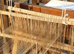 Old wooden Spinning frame for textile processing Stock Photos