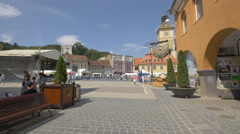 The Council Square seen from Apollonia Hirscher street, Brasov Stock Footage