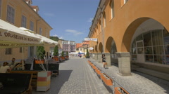 Walking on Apollonia Hirscher street, near the Council Square, Brasov Stock Footage
