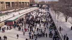Stock Video Footage of Skaters on Rideau Canal Time-Lapse v.1-1