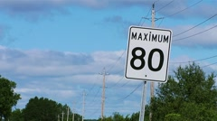 Speed limit sign on a country road near Ottawa. - stock footage