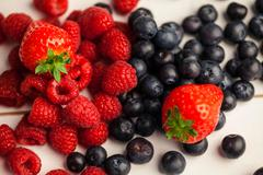 Fresh berries in close up Stock Photos