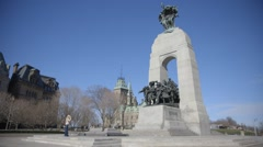 The War Memorial Statue in downtown Ottawa. Stock Footage