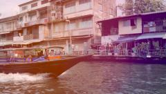 Bangkok Canal Khlong boats in Thai, public transport in Old Town. Panning shot - stock footage