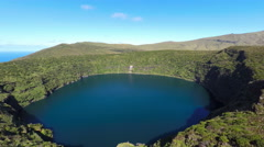 Aerial video footage of the calderira negra,Flores island Stock Footage
