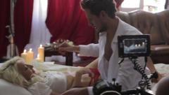 Stock Video Footage of Actors before shooting a scene in erotic movie