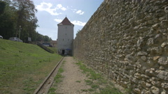 The stone wall of the restored bastion of Brasov fortress, Brasov Stock Footage
