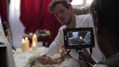 Stock Video Footage of Behind the scenes of filming the erotic video