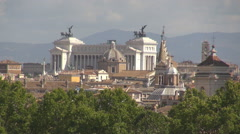 Aerial view National Monument Victor Emmanuel building Rome symbol skyline day   Stock Footage