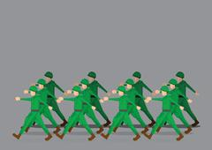 Soldiers Marching in Military Parade Stock Illustration