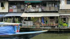 Bangkok Canal Khlong boats in Thai, public transport in Old Town. Stock Footage