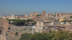 Aerial view Roman Forum Rome ancient temple ruin wall traffic street historic  Stock Footage