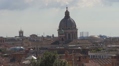 Aerial view Rome cityscape sunny day rooftop old town historical church building Stock Footage