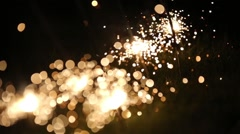 Sparklers at night 2 Stock Footage