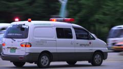 Medical Transport Van In Seoul outh Korea Stock Footage
