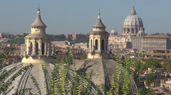 Saint Peters cathedral dome church cupola Rome cityscape old building Vatican  Stock Footage