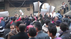 Protest Outside Bakery Aleppo, Syria Stock Footage