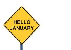 Yellow roadsign with HELLO JANUARY message - stock illustration
