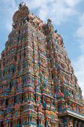 Hindu temple gopura (tower). Menakshi Temple, Madurai, Tamil Nadu, India Stock Photos