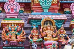 Sculptures on Hindu temple tower Stock Photos