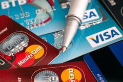 Visa and Mastercard cards Stock Photos