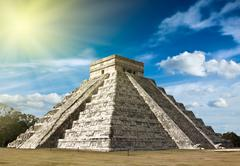 Anicent mayan pyramid in Chichen-Itza, Mexico - stock photo
