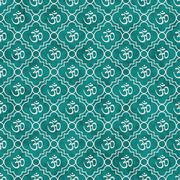 Stock Illustration of Teal and White Aum Hindu Symbol Tile Pattern Repeat Background