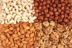 Different  nuts (almons, cashews, walnuts and filbers) close up Stock Photos