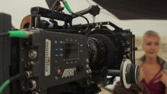 professional movie camera on the set. Film shooting - stock footage