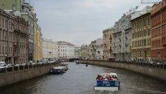 Moyka river in Saint Petersburg Stock Footage